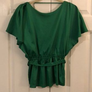 Green silky top